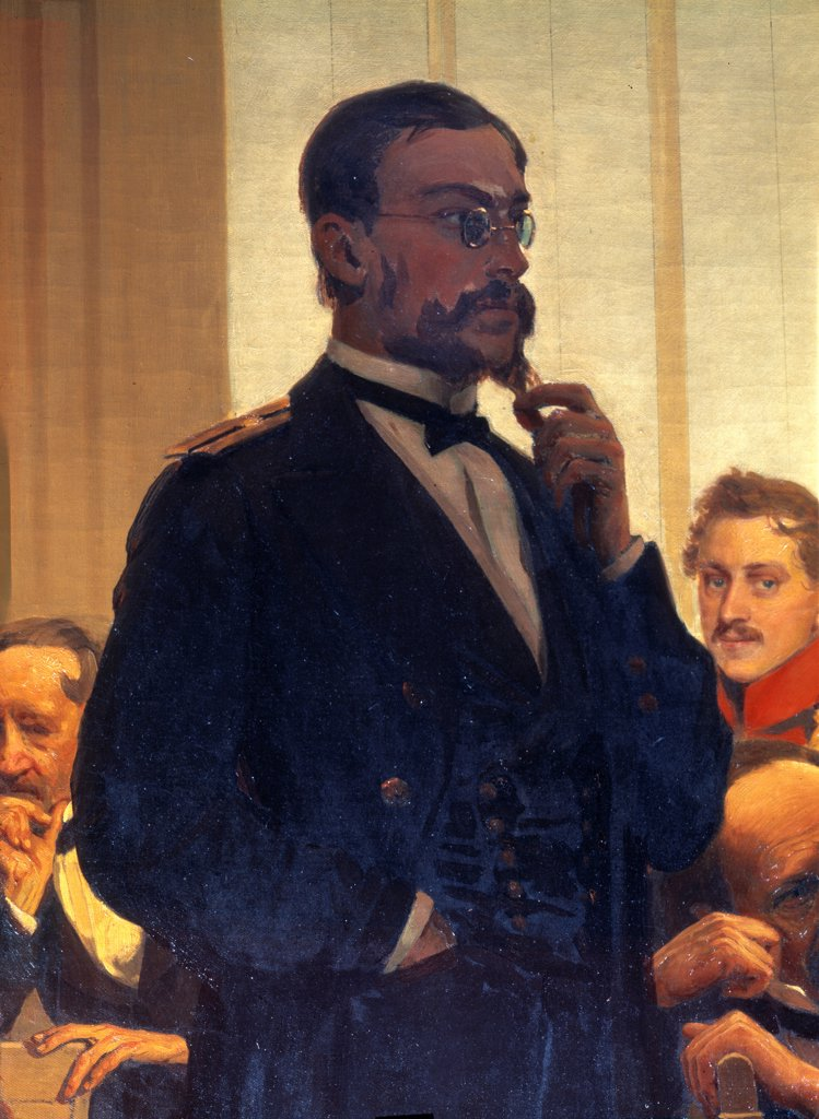 Stock Photo: 4266-22323 The composer Nikolay Rimsky-Korsakov (Detail of the painting Slavonic composers) by Repin, Ilya Yefimovich (1844-1930)/ State Conservatory, Moscow/ 1872/ Russia/ Oil on canvas/ Russian Painting of 19th cen./ Music, Dance,Portrait