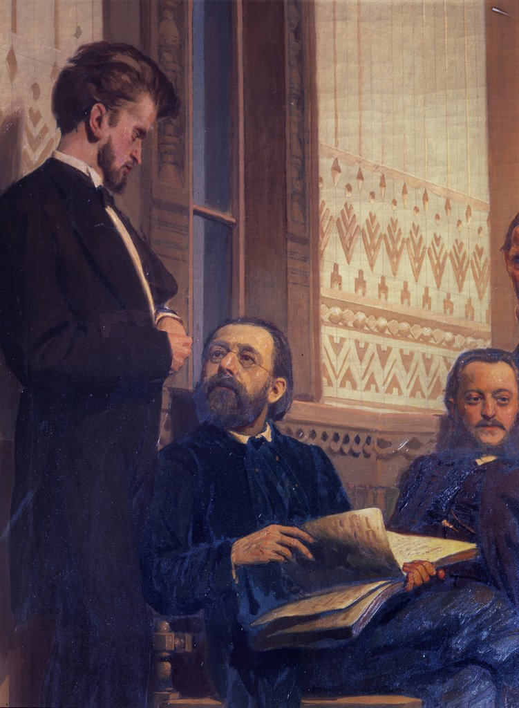 Stock Photo: 4266-22326 The composers Milan Napravnik and Bedrich Smetana (Detail of the painting Slavonic composers) by Repin, Ilya Yefimovich (1844-1930)/ State Conservatory, Moscow/ 1872/ Russia/ Oil on canvas/ Russian Painting of 19th cen./ Music, Dance,Portrait