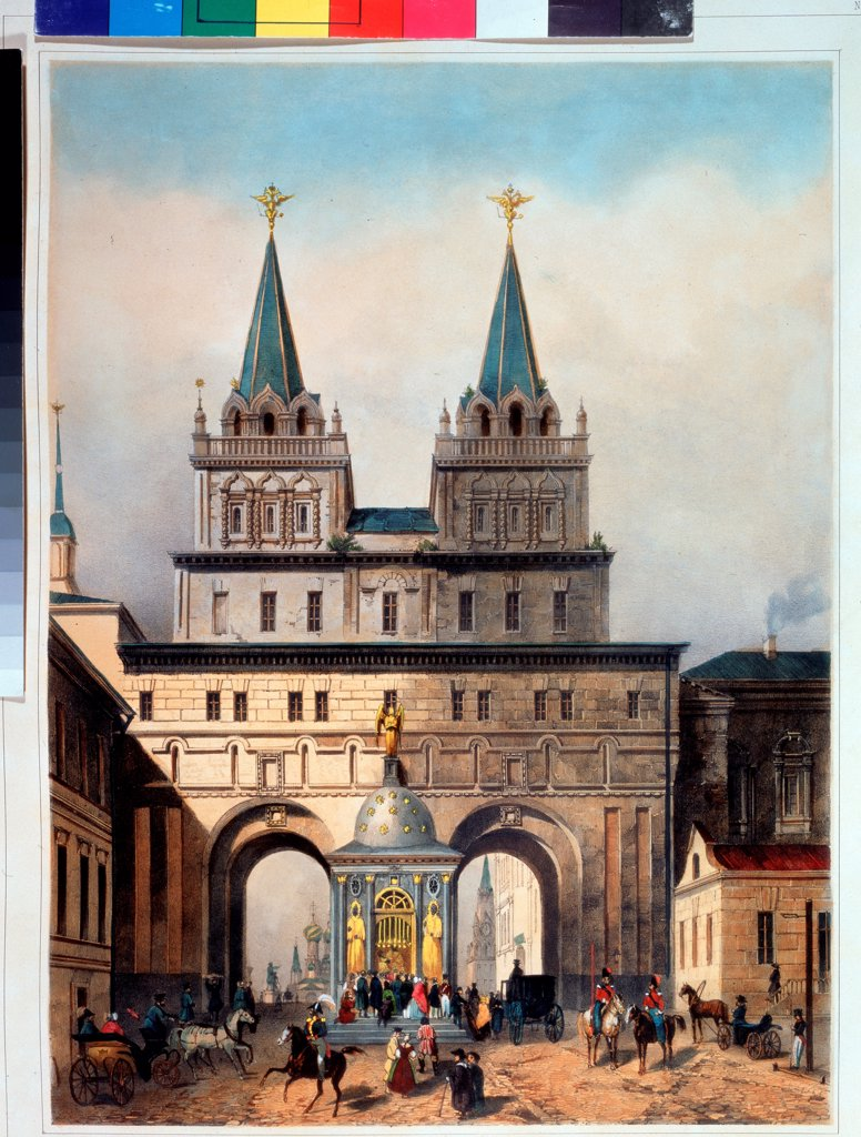The Resurrection Gate in Moscow by Muller, Andreas Jakob Heinrich (1811-1890)/ A. Pushkin Memorial Museum, St. Petersburg/ 1840s/ Germany/ Lithograph, watercolour/ German Painting of 19th cen./ Architecture, Interior : Stock Photo