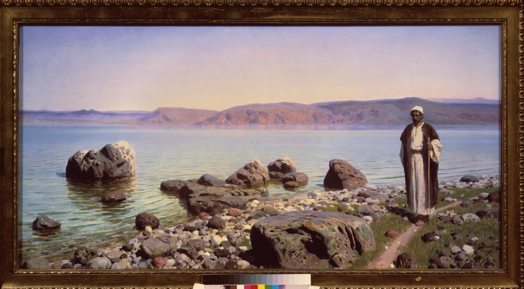 Stock Photo: 4266-22366 Jesus at the Sea of Galilee by Polenov, Vasili Dmitrievich (1844-1927)/ State Tretyakov Gallery, Moscow/ 1888/ Russia/ Oil on canvas/ Russian Painting of 19th cen./ 79x158/ Bible