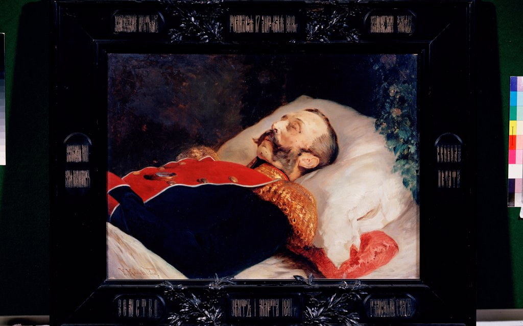 Stock Photo: 4266-22386 Emperor Alexander II on the deathbed by Makovsky, Konstantin Yegorovich (1839-1915)/ State Tretyakov Gallery, Moscow/ 1881/ Russia/ Oil on canvas/ Russian Painting of 19th cen./ 61x85,5/ Portrait