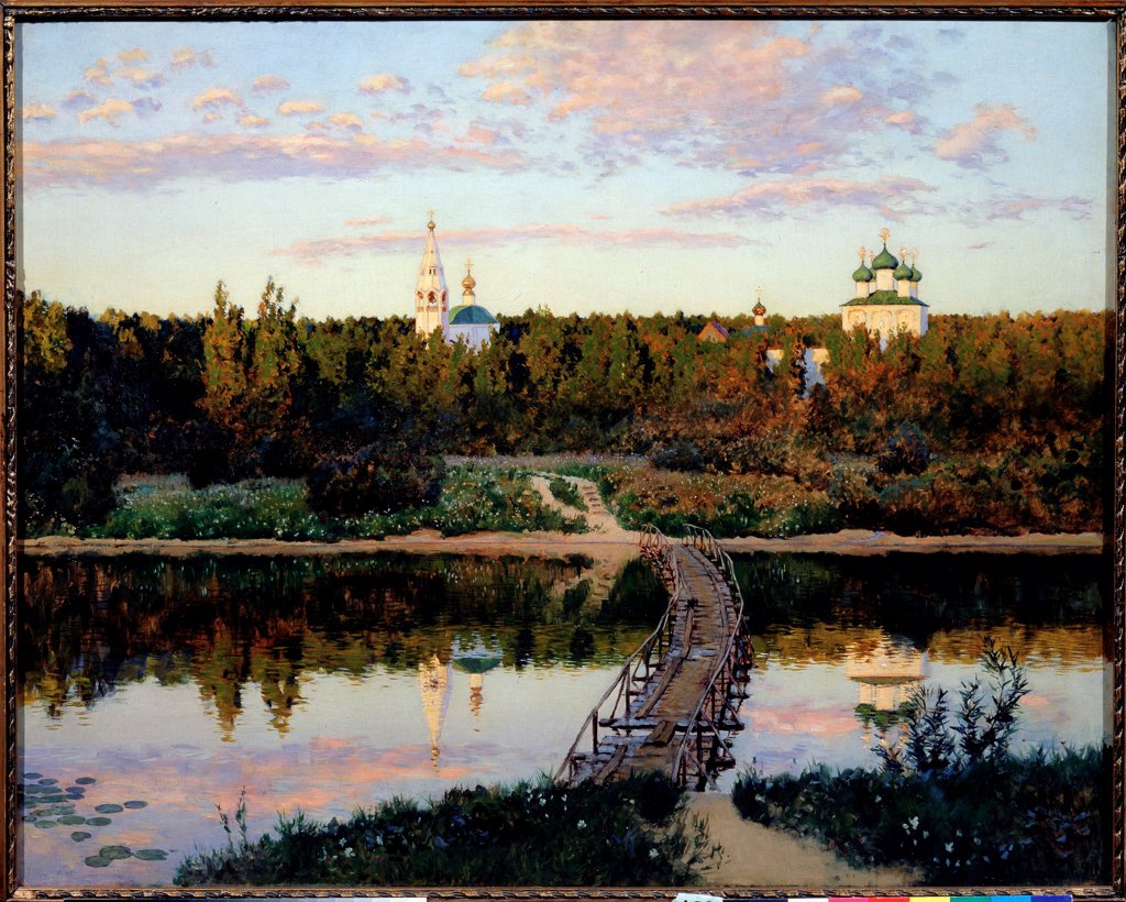 Stock Photo: 4266-22388 The Quiet Abode by Levitan, Isaak Ilyich (1860-1900)/ State Tretyakov Gallery, Moscow/ 1890/ Russia/ Oil on canvas/ Russian Painting of 19th cen./ 87,5x108/ Landscape