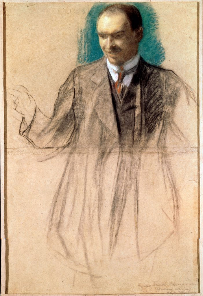Portrait of the artist Kusma Petrov-Vodkin (1878-1939) by Kustodiev, Boris Michaylovich (1878-1927)/ State Russian Museum, St. Petersburg/ 1916/ Russia/ Pastel on cardboard/ Russian Painting, End of 19th - Early 20th cen./ 90,5x62/ Portrait : Stock Photo