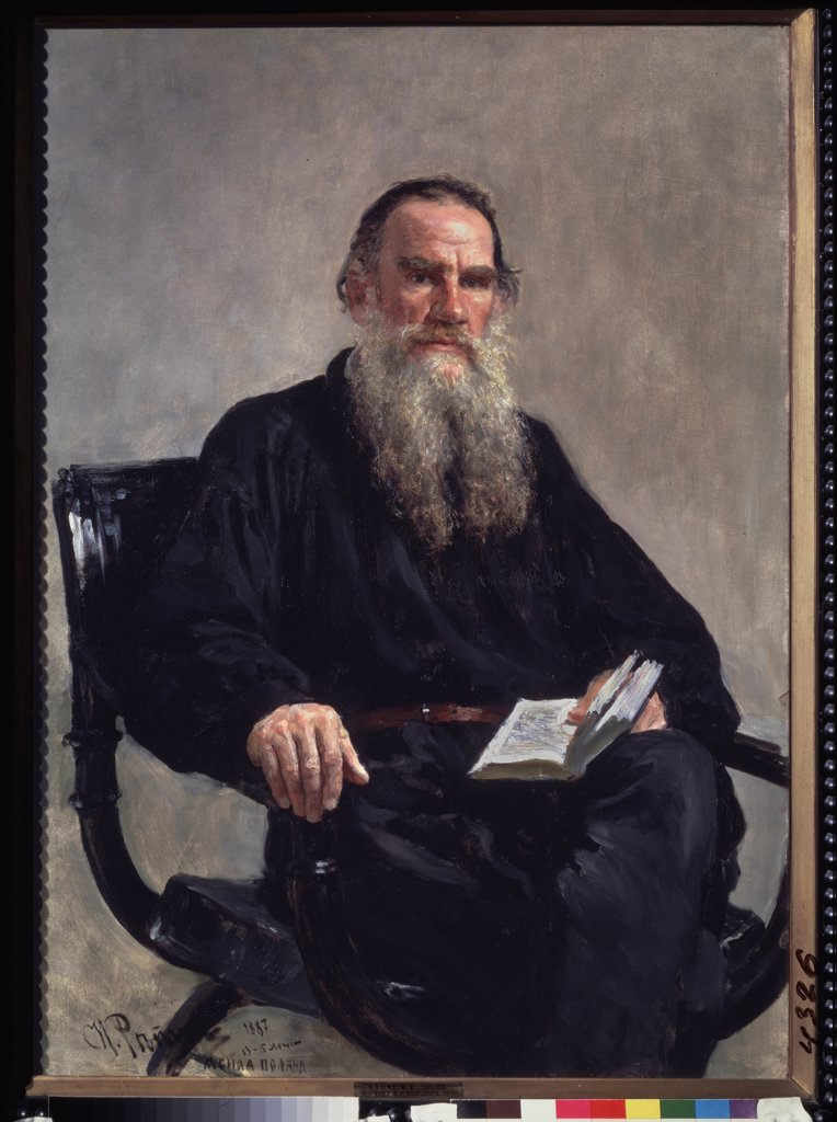 Stock Photo: 4266-22400 Portrait of the author Leo N. Tolstoy (1828-1910) by Repin, Ilya Yefimovich (1844-1930)/ State Tretyakov Gallery, Moscow/ 1887/ Russia/ Oil on canvas/ Russian Painting of 19th cen./ 124x88/ Portrait