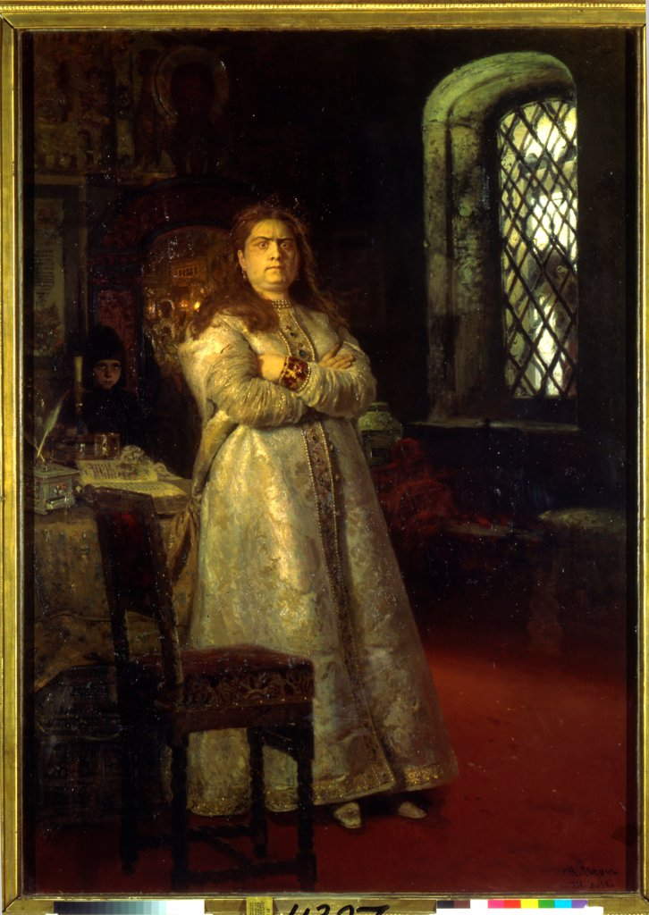 Stock Photo: 4266-22401 Tsarevna Sofia at the Novodevichy Convent during the Strelets execution and the torturing of her servants in 1698 by Repin, Ilya Yefimovich (1844-1930)/ State Tretyakov Gallery, Moscow/ 1879/ Russia/ Oil on canvas/ Russian Painting of 19th cen./ 201,8x14