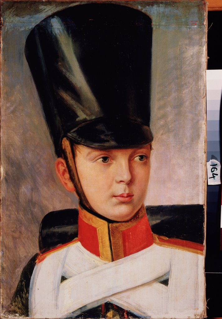 Portrait of the Crown prince Alexander Nikolayevich (1818-1881) by Sauerweid, Alexander Ivanovich (1783-1844)/ State A. Radishchev Art Museum, Saratov/ 1830/ Russia/ Oil on canvas/ Russian Painting of 19th cen./ 56x36/ Portrait : Stock Photo