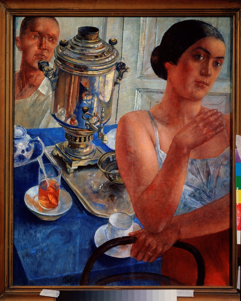 Stock Photo: 4266-22457 At the samovar by Petrov-Vodkin, Kuzma Sergeyevich (1878-1939)/ State Tretyakov Gallery, Moscow/ 1926/ Russia/ Oil on canvas/ Russian Painting, End of 19th - Early 20th cen./ 80x64,5/ Genre