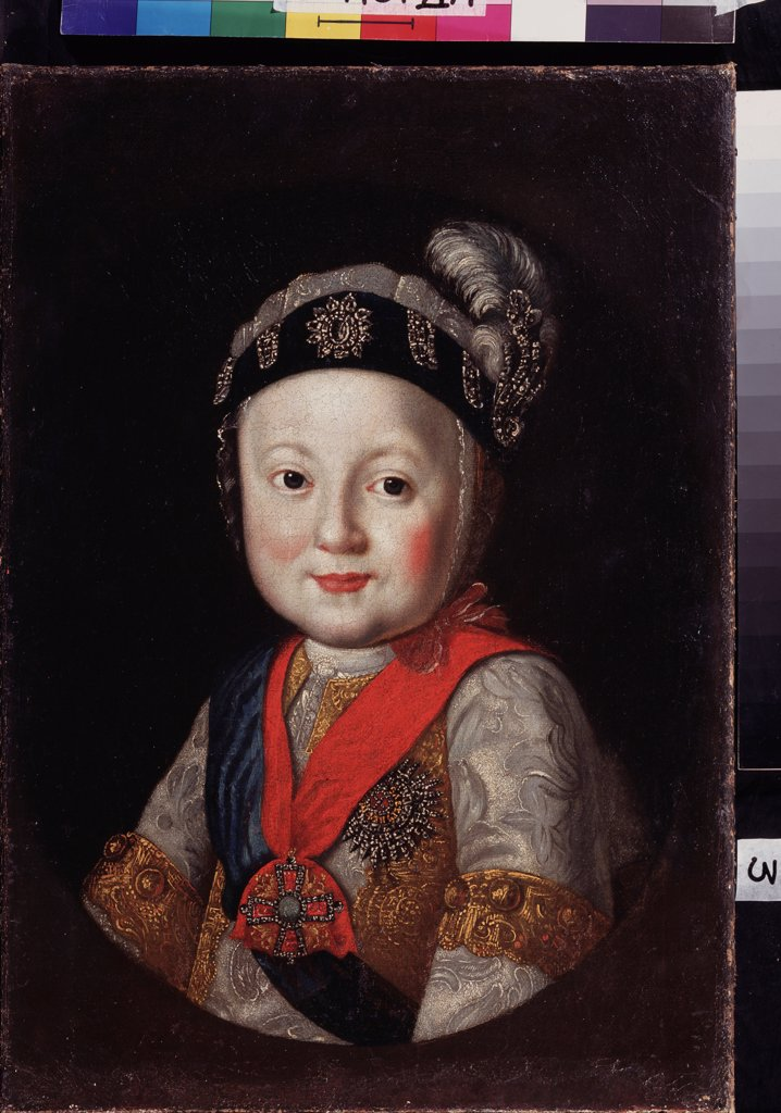 Stock Photo: 4266-22476 Portrait of Grand Duke Pavel Petrovich (1754-1801) as child by Russian master  / Regional Art Gallery, Vologda/ Second Half of the 18th cen./ Russia/ Oil on canvas/ Russian Art of 18th cen./ 54x37/ Portrait