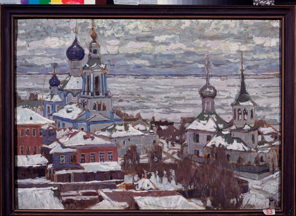 Stock Photo: 4266-22493 Rostov in Winter by Petrovichev, Pyotr Ivanovich (1874-1947)/ State Open-air Museum Rostov Kremlin, Rostov/ 1910/ Russia/ Gouache and Tempera on cardboard/ Russian Painting, End of 19th - Early 20th cen./ 71x99/ Landscape