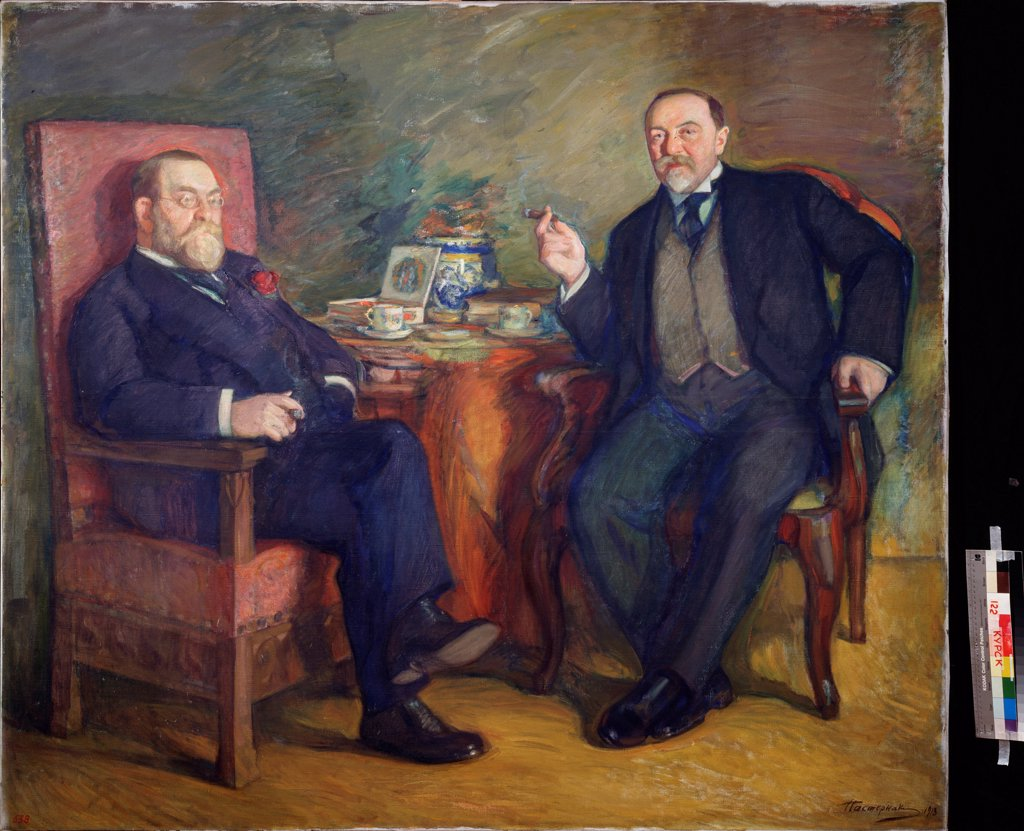 Stock Photo: 4266-22501 At the tea. Portrait of the collectors Ossip Cetlin und David Wyssotski by Pasternak, Leonid Osipovich (1862-1945)/ Regional A. Deineka Art Gallery, Kursk/ 1913/ Russia/ Tempera on canvas/ Russian Painting, End of 19th - Early 20th cen./ 156,5x178,5/ Por