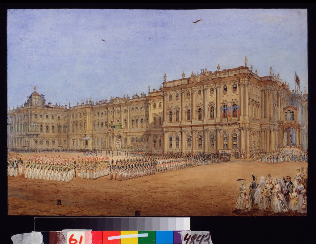 Stock Photo: 4266-22555 Military Review at the Winter palace in St. Petersburg by Sadovnikov, Vasily Semyonovich (1800-1879)/ State Russian Museum, St. Petersburg/ 1840s/ Russia/ Watercolour on paper/ Russian Painting of 19th cen./ 27x39,4/ Genre