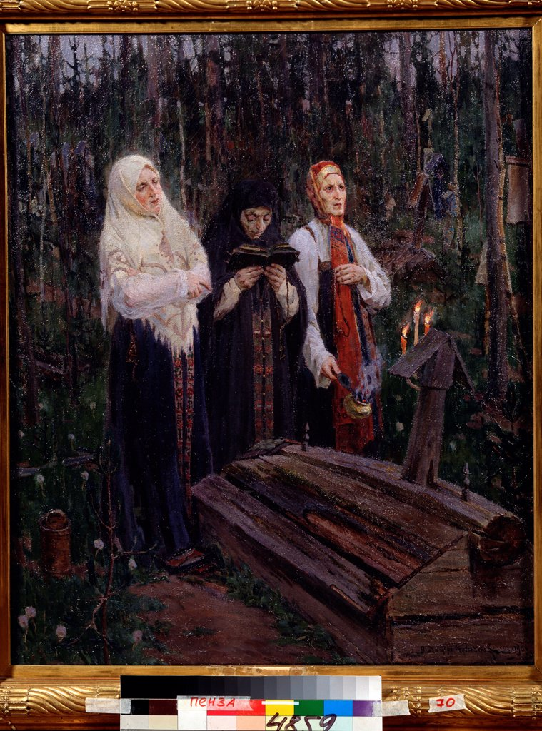 Stock Photo: 4266-22561 The Evening Before by Kuznetsov, Vladimir Alexandrovich (1878-1960)/ Regional K. Savitsky Art Gallery, Pensa/ 1909/ Russia/ Oil on canvas/ Russian Painting, End of 19th - Early 20th cen./ 88x73/ Genre