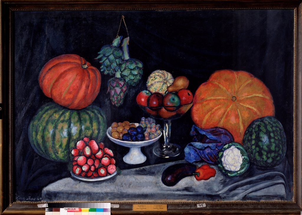 Stock Photo: 4266-22577 Vegetables. Still life by Mashkov, Ilya Ivanovich (1881-1958)/ State Art Museum, Odessa/ 1914-1915/ Russia/ Oil on canvas/ Russian Painting, End of 19th - Early 20th cen./ 105x154/ Still Life