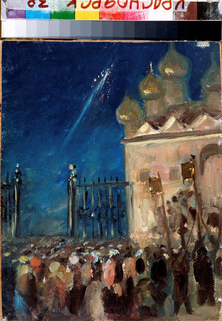 Stock Photo: 4266-22613 Easter Matins by Nesterov, Mikhail Vasilyevich (1862-1942)/ State V. Surikov Art Museum, Krasnoyarsk/ Russia/ Oil on cardboard/ Symbolism/ 28,5x23/ Genre