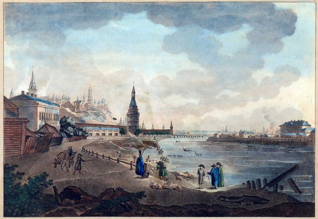 Stock Photo: 4266-22618 View of the Moscow Kremlin near the Big Stone Bridge by Quarenghi, Giacomo Antonio Domenico (1744-1817)/ A. Pushkin Memorial Museum, St. Petersburg/ 1790s/ Italy/ Watercolour and ink on paper/ Classicism/ Landscape