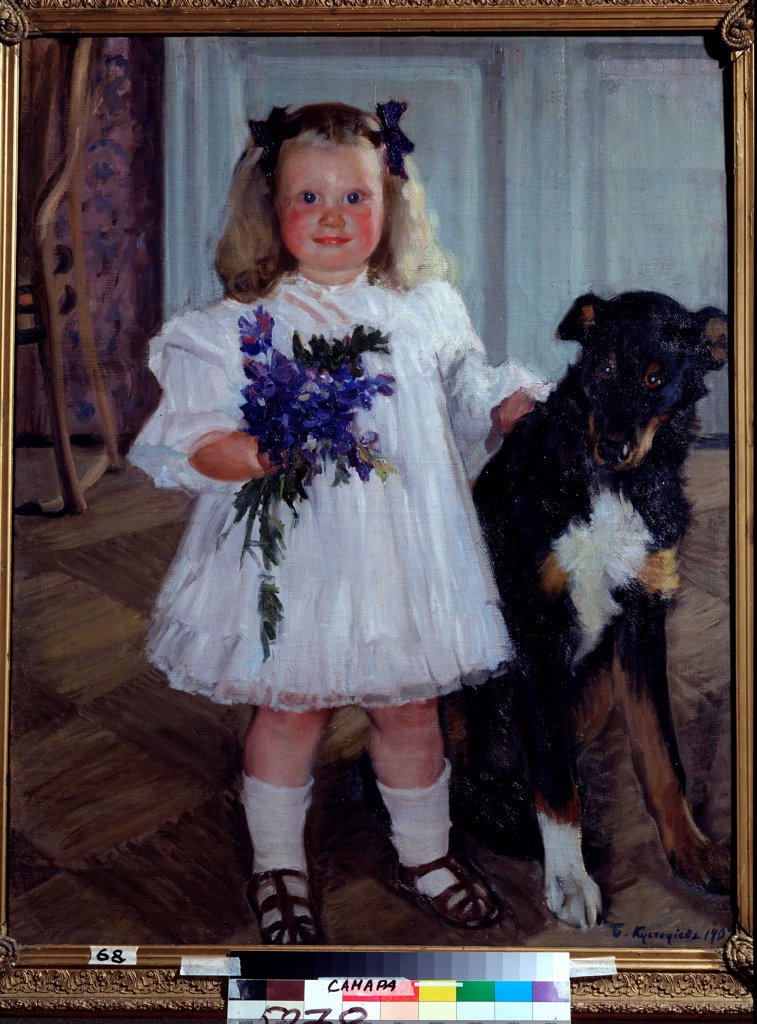 Stock Photo: 4266-22693 Portrait of the daughter Irina with the dog Shumka by Kustodiev, Boris Michaylovich (1878-1927)/ State Art Museum, Samara/ 1907/ Russia/ Oil on canvas/ Russian Painting, End of 19th - Early 20th cen./ 100x80/ Portrait