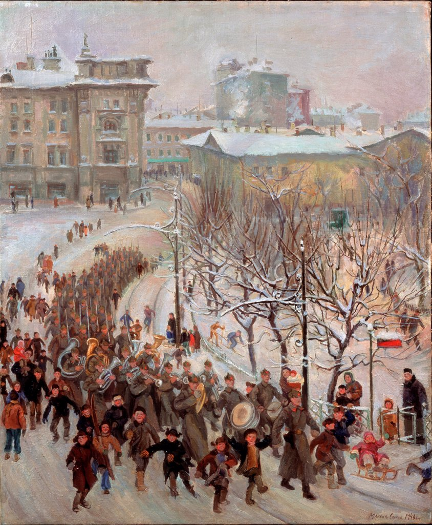 Stock Photo: 4266-22739 Red Army men by Markin, Sergei Ivanovich (1903-1941)/ Regional Art Gallery, Vologda/ 1940/ Russia/ Oil on canvas/ Soviet Art/ 75,7x62,5/ Genre