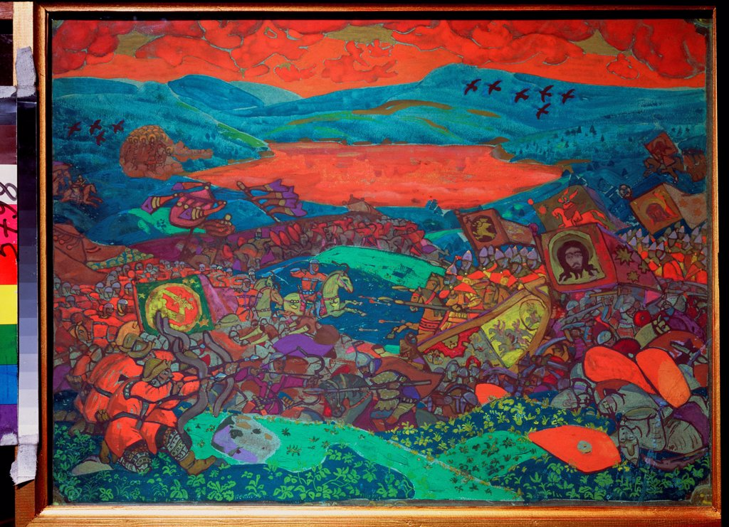 Stock Photo: 4266-22820 The Battle of Kerzhenets by Roerich, Nicholas (1874-1947)/ State Russian Museum, St. Petersburg/ 1911/ Russia/ Tempera on cardboard/ Symbolism/ 52,4x70/ History