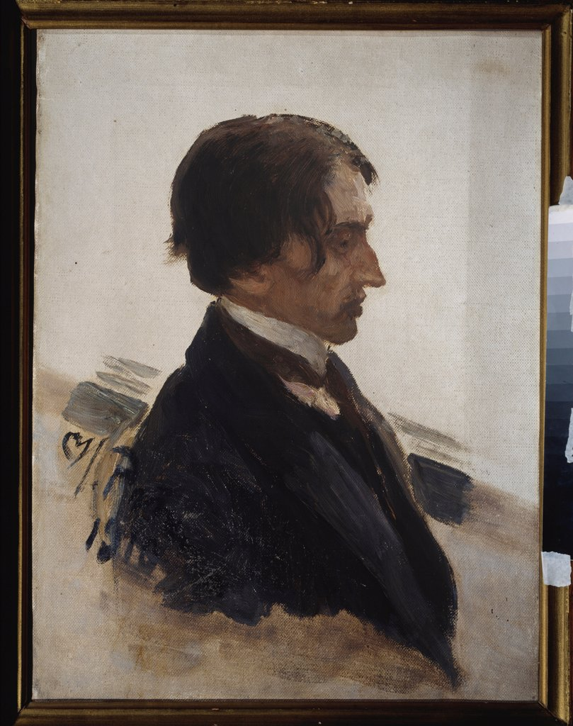 Stock Photo: 4266-22822 Portrait of the artist Isaak Brodsky (1883-1939) by Repin, Ilya Yefimovich (1844-1930)/ State Art Museum, Tyumen/ 1910/ Russia/ Oil on canvas/ Russian Painting, End of 19th - Early 20th cen./ 72x52,5/ Portrait