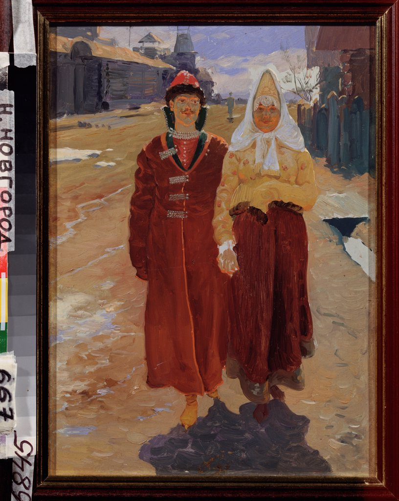 Stock Photo: 4266-22839 Going on a visit by Ryabushkin, Andrei Petrovich (1861-1904)/ State Art Museum, Nizhny Novgorod/ 1896/ Russia/ Oil on canvas/ Russian Painting of 19th cen./ 44x32/ Genre