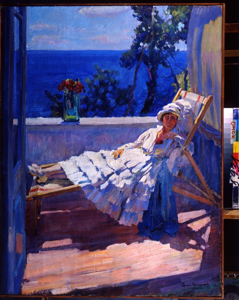 Stock Photo: 4266-22862 A lady on the balcony by Vinogradov, Sergei Arsenyevich (1869-1938)/ Regional M. Vrubel Art Museum, Omsk/ 1916/ Russia/ Oil on canvas/ Russian Painting, End of 19th - Early 20th cen./ 102x82/ Genre