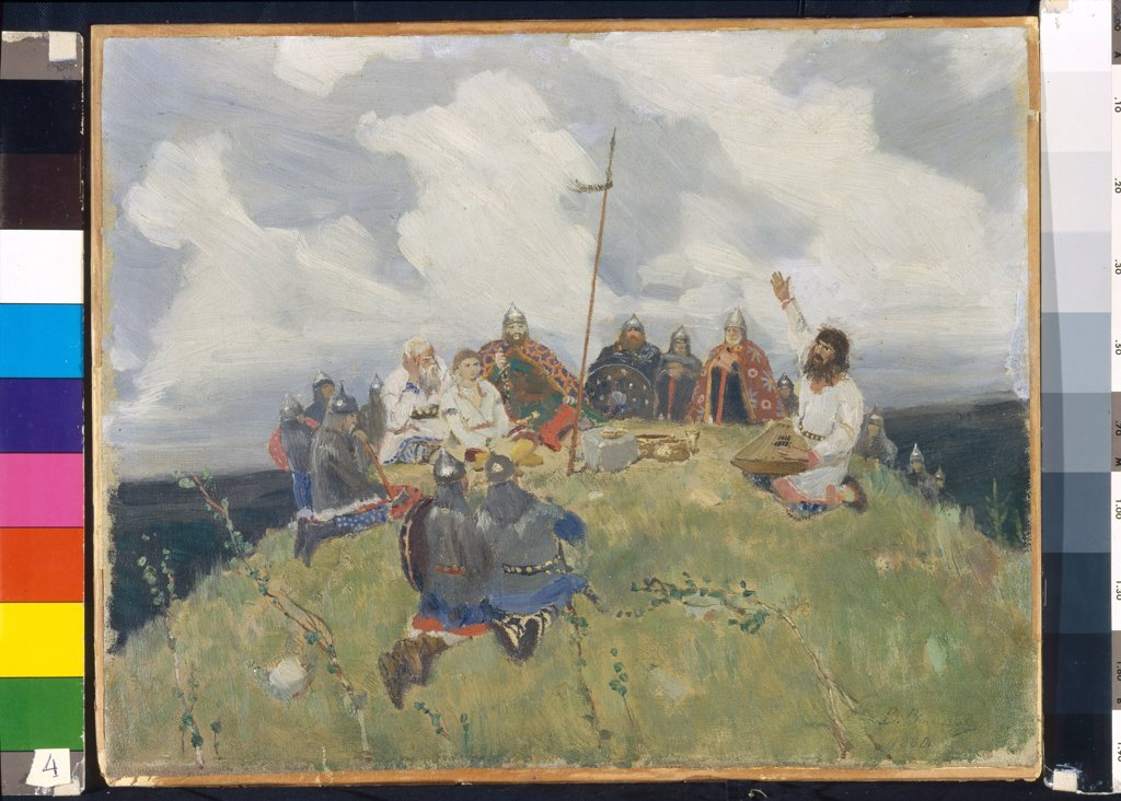 Stock Photo: 4266-22891 Boyan playing a gusli by Vasnetsov, Viktor Mikhaylovich (1848-1926)/ State Museum Abramtsevo Estate, near Moscow/ 1880/ Russia/ Oil on cardboard/ Russian Painting of 19th cen./ 33,5x42,2/ Music, Dance,Genre,Mythology, Allegory and Literature