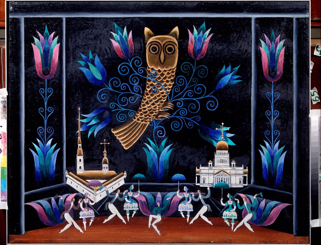 Stock Photo: 4266-22919 Set design for the ballet Lefthander by B. Alexandrov by Messerer, Boris Asafovich (*1933)/ State Central M. Glinka Museum of Music, Moscow/ 1976/ Russia/ Oil on canvas/ Theatrical scenic painting/ 80x100/ Opera, Ballet, Theatre