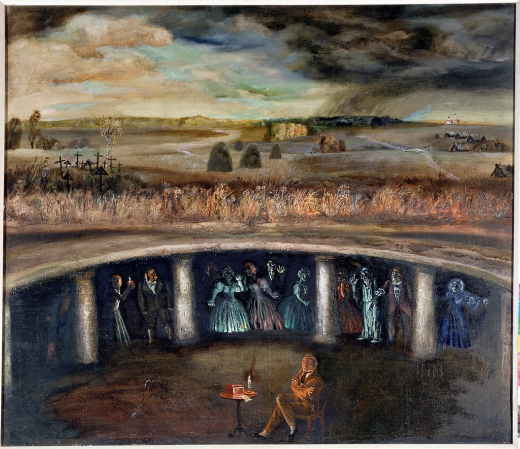 Stage design for the opera The dead Souls by R. Shchedrin by Levental, Valeri Jakovlevich (*1938)/ State Central M. Glinka Museum of Music, Moscow/ 1977/ Russia/ Oil on canvas/ Theatrical scenic painting/ 101x117/ Opera, Ballet, Theatre : Stock Photo