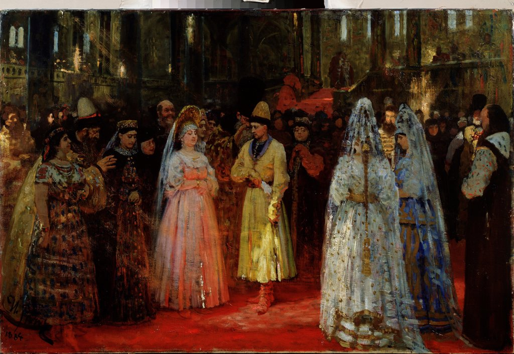 Stock Photo: 4266-22996 The Bride choosing of the Tsar by Repin, Ilya Yefimovich (1844-1930)/ State Art Gallery, Perm/ 1884-1887/ Russia/ Oil on canvas/ Russian Painting of 19th cen./ 65x101/ Genre