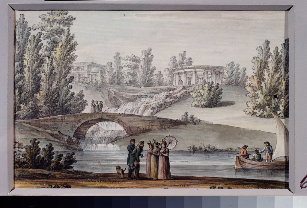Stock Photo: 4266-22998 The Temple of Apollo and Cascade in the Pavlovsk park by Quarenghi, Giacomo Antonio Domenico (1744-1817)/ State Open-air Museum Pavlovsk Palace, St. Petersburg/ 1800s/ Italy/ Pen, ink, watercolour on paper/ Classicism/ Landscape