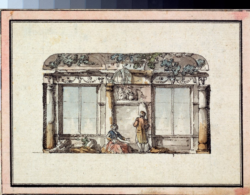 Stock Photo: 4266-23039 Sketch for decoration of a hall with two windows by Quarenghi, Giacomo Antonio Domenico (1744-1817)/ State A. Pushkin Museum of Fine Arts, Moscow/ Italy/ Pen, ink, watercolour on paper/ Classicism/ 11,8x16/ Architecture, Interior