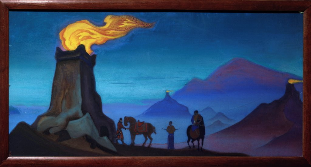 Stock Photo: 4266-23085 Flames of the Victory by Roerich, Nicholas (1874-1947)/ State Russian Museum, St. Petersburg/ 1940/ Russia/ Tempera on canvas/ Symbolism/ 61x122/ Landscape