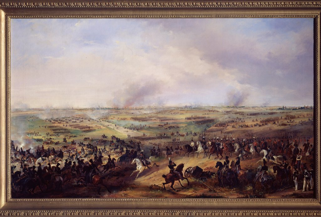 Stock Photo: 4266-23096 The Battle of the Nations of Leipzig on October 1813 by Sauerweid, Alexander Ivanovich (1783-1844)/ State Open-air Museum Tsarskoye Selo, St. Petersburg/ Germany/ Oil on canvas/ German Painting of 19th cen./ History