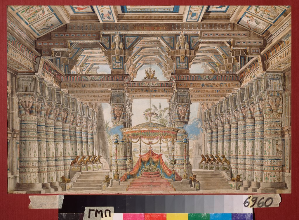 Stock Photo: 4266-23102 Stage design for the ballet Caesar in Egypt by Roller, Andreas Leonhard (1805-1891)/ State Museum of Theatre and Music Art, St. Petersburg/ 1834/ Germany/ Watercolour, Gouache, white colour, ink on paper/ Theatrical scenic painting/ Opera, Ballet, Theatr