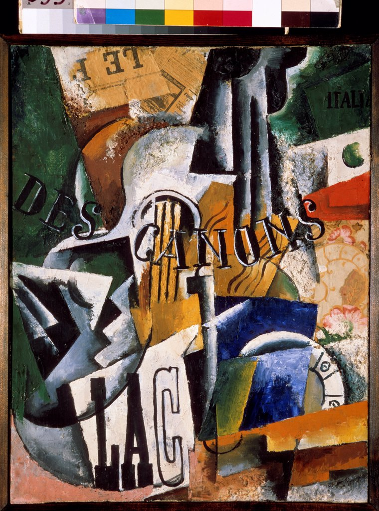 Stock Photo: 4266-23109 Italian Still life by Popova, Lyubov Sergeyevna (1889-1924)/ State Tretyakov Gallery, Moscow/ 1914/ Russia/ Oil on canvas/ Cubism/ 62,2x48,6/ Still Life