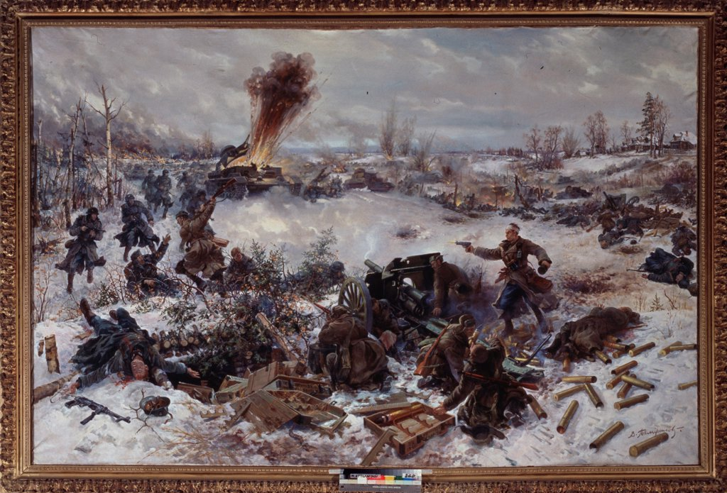 Artillery in the Battle of Moscow near Volokolamsk on Decembre 1941 by Pamfilov, Vladimir Evgenyevich (1904-?)/ State Central Artillery Museum, St. Petersburg/ 1946/ Russia/ Oil on canvas/ Soviet Art/ 193x295/ History : Stock Photo