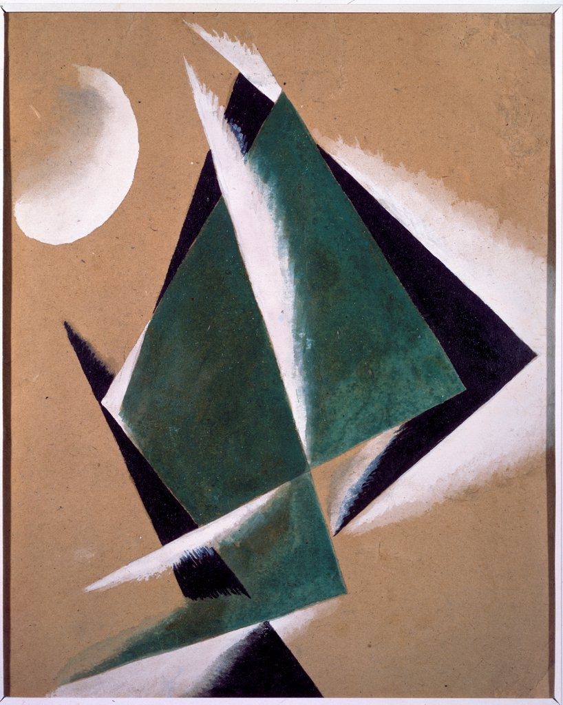 Construction with white half-moon by Popova, Lyubov Sergeyevna (1889-1924)/ State Tretyakov Gallery, Moscow/ 1920-1921/ Russia/ Gouache on cardboard/ Russian avant-garde/ 33,5x27/ Abstract Art : Stock Photo