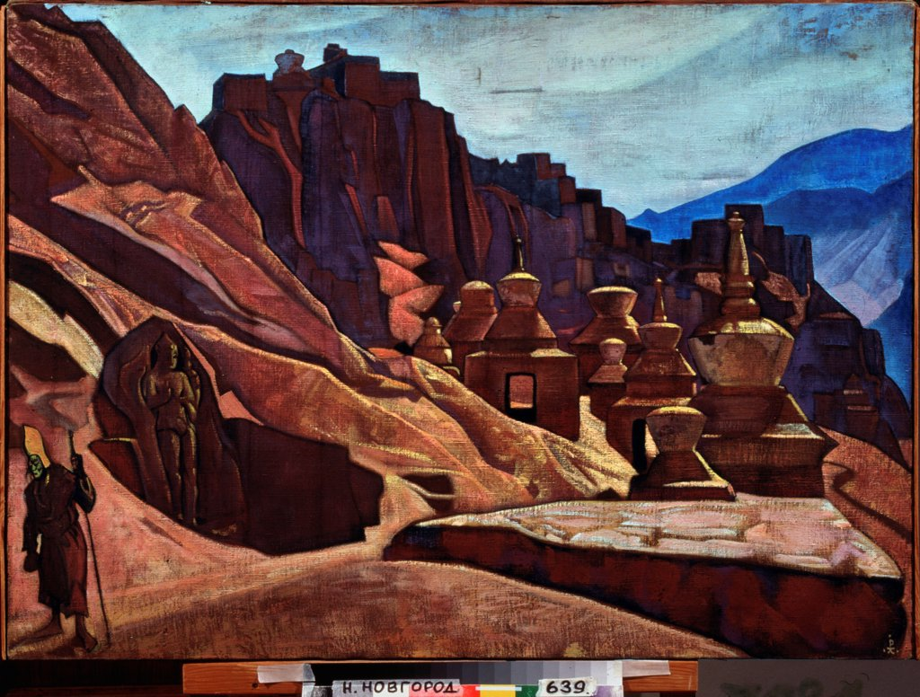 Stock Photo: 4266-23123 The Bonpo monastery in Tibet by Roerich, Nicholas (1874-1947)/ State Art Museum, Nizhny Novgorod/ 1925/ Russia/ Tempera on canvas/ Symbolism/ 73x101,5/ Architecture, Interior,Landscape