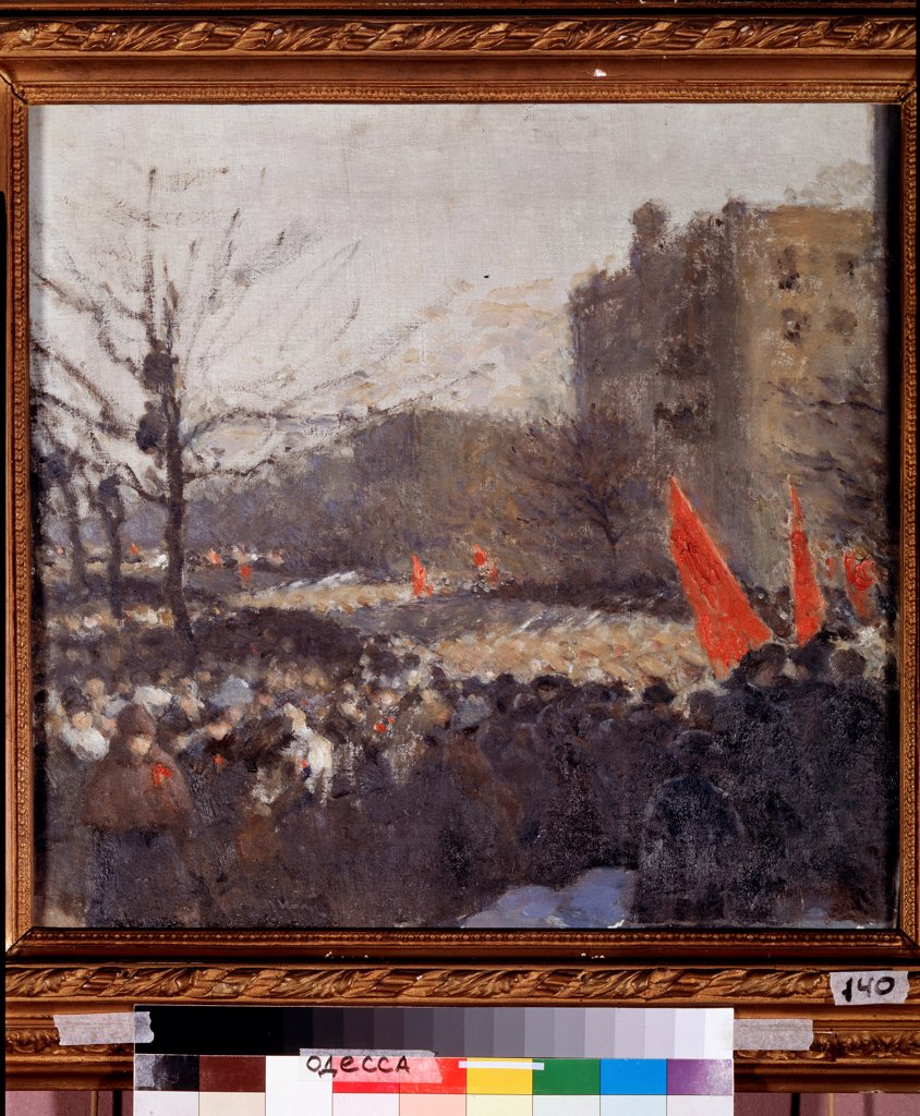 Stock Photo: 4266-23124 Revolutionary demonstration in February 1917 by Nilus, Pyotr Alexandrovich (1869-1940)/ State Art Museum, Odessa/ 1917/ Russia/ Oil on canvas/ Russian Painting, End of 19th - Early 20th cen./ 51,5x54,5/ History