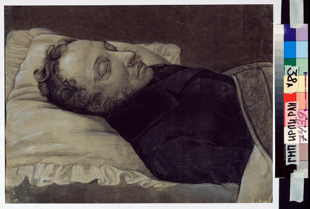 Stock Photo: 4266-23213 Poet Alexander Pushkin on his deathbed by Kozlov, Alexander Alexeyevich (1818-1884)/ Russian State Archive of Literature and Art, Moscow/ 1837/ Russia/ Pencil, Gouache and ink on paper/ Russian Painting of 19th cen./ Portrait