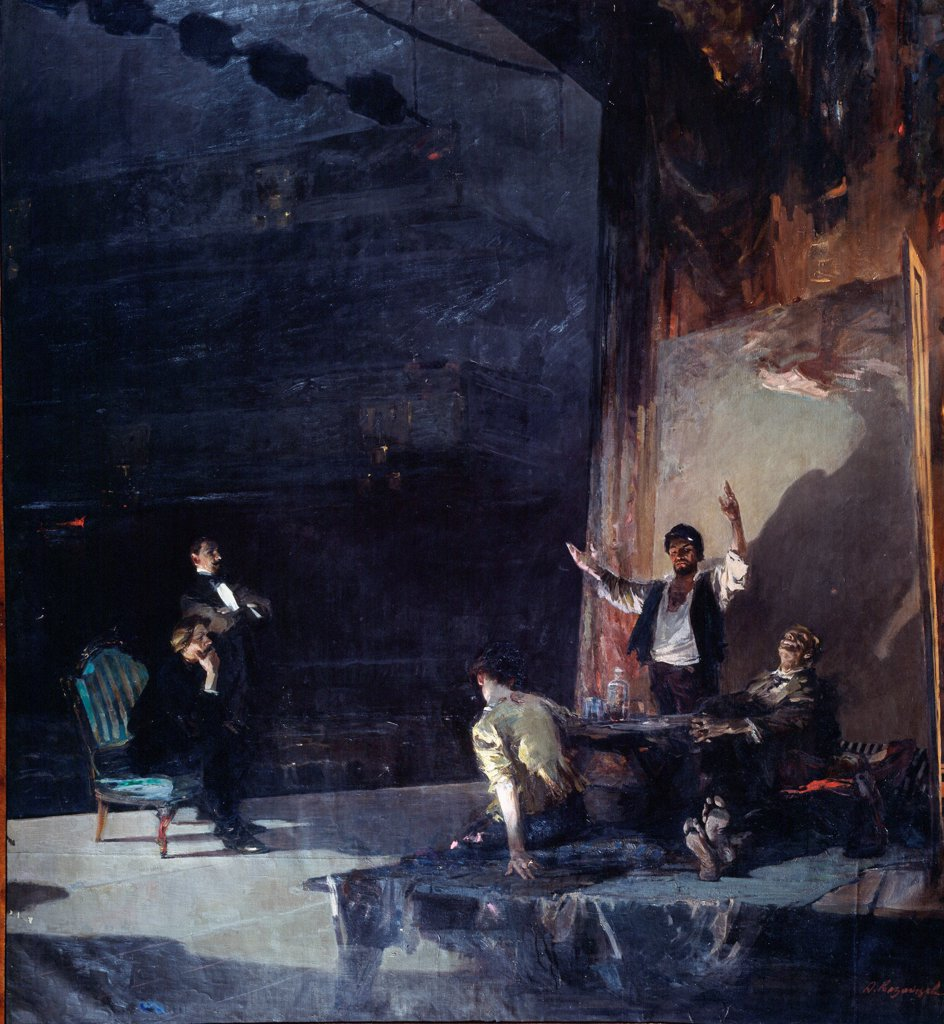 Stock Photo: 4266-23224 First rehearsal of the theatre play The Lower Depths by M. Gorky by Kazantsev, Anatoli Alexeyevich (1908-1984)/ Regional Art Museum, Gorlovka/ 1957/ Russia/ Oil on canvas/ Soviet Art/ 250x230/ Opera, Ballet, Theatre