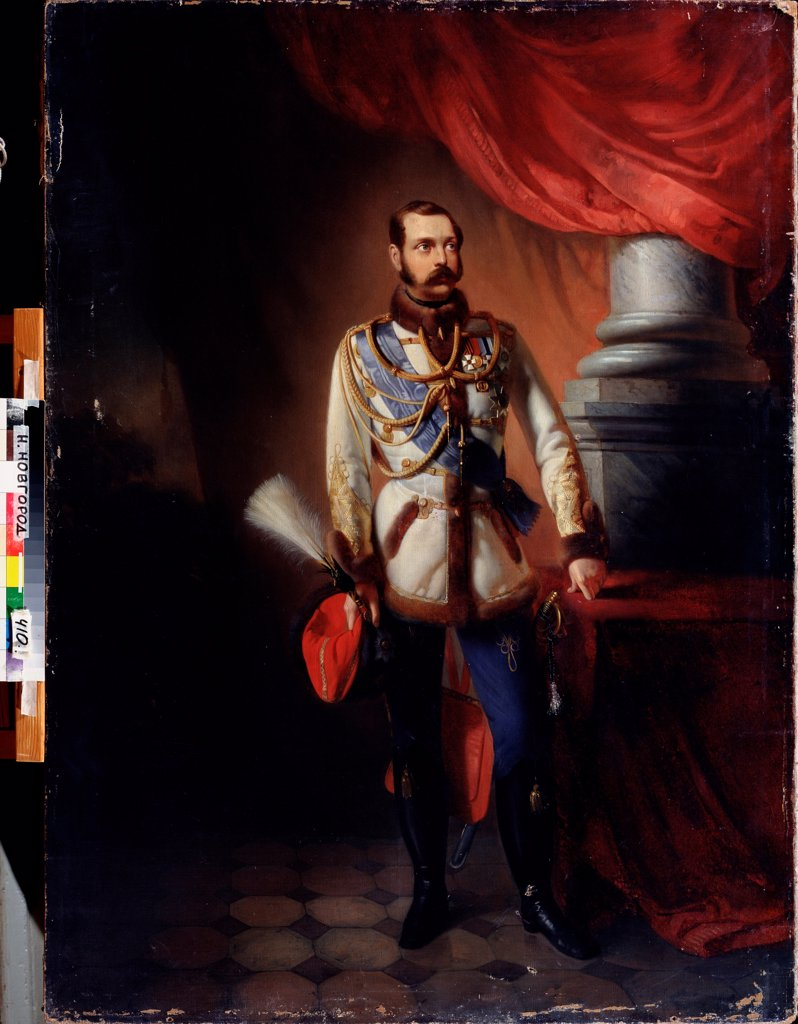 Stock Photo: 4266-23333 Portrait of Emperor Alexander II (1818-1881) by Makovsky, Konstantin Yegorovich (1839-1915)/ State Art Museum, Nizhny Novgorod/ 1860s/ Russia/ Oil on canvas/ Russian Painting of 19th cen./ 130x96/ Portrait