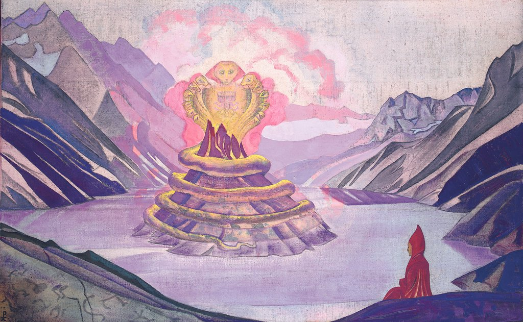 Stock Photo: 4266-2334 Roerich, Nicholas (1874-1947) International Centre of the Roerichs, Moscow 1925 73,4x117,4 Tempera on canvas Symbolism Russia Mythology, Allegory and Literature