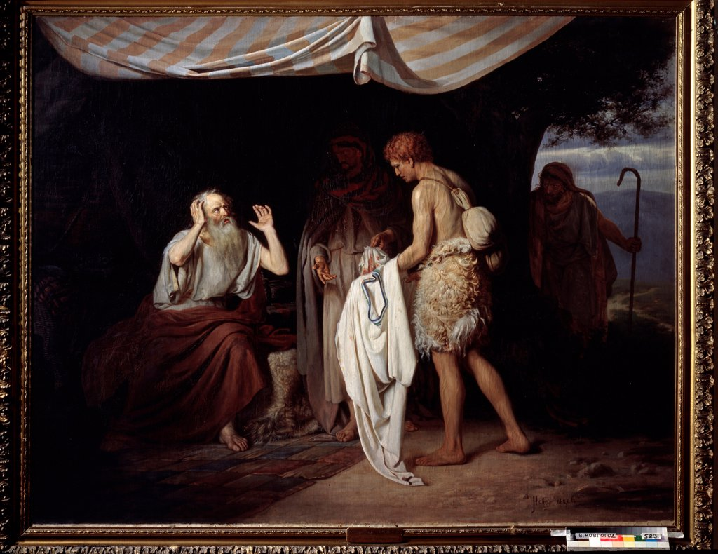 Stock Photo: 4266-23353 Joseph's Bloody Coat Brought to Jacob by Novoskoltsev, Alexander Nikanorovich (1853-1919)/ State Art Museum, Nizhny Novgorod/ 1880/ Russia/ Oil on canvas/ Russian Painting of 19th cen./ 179x227/ Bible