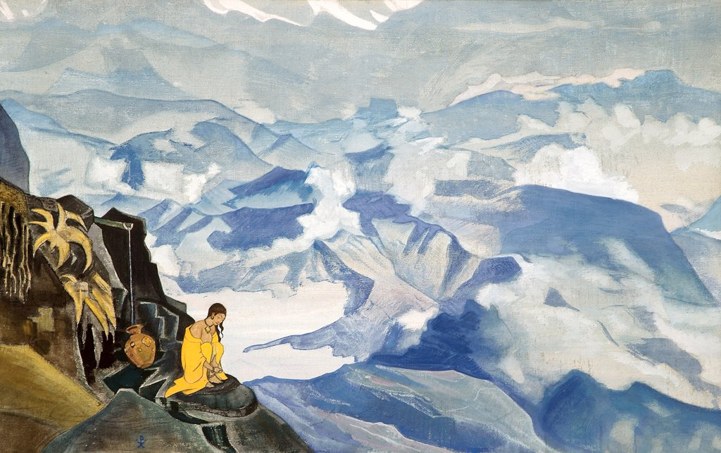 Roerich, Nicholas (1874-1947) Nicholas Roerich Museum, New York 1924 80,5x132 Tempera on canvas Symbolism Russia Mythology, Allegory and Literature  : Stock Photo
