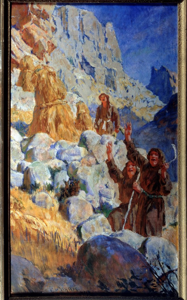 The red Partisans of Dagestan (Triptych, right panel) by Lanceray (Lansere), Evgeny Evgenyevich (1875-1946)/ State Art Museum of the Dagestan Republic, Makhatchkala/ 1929-1931/ Russia/ Tempera on canvas/ Soviet Art/ 139x80,5/ Genre : Stock Photo