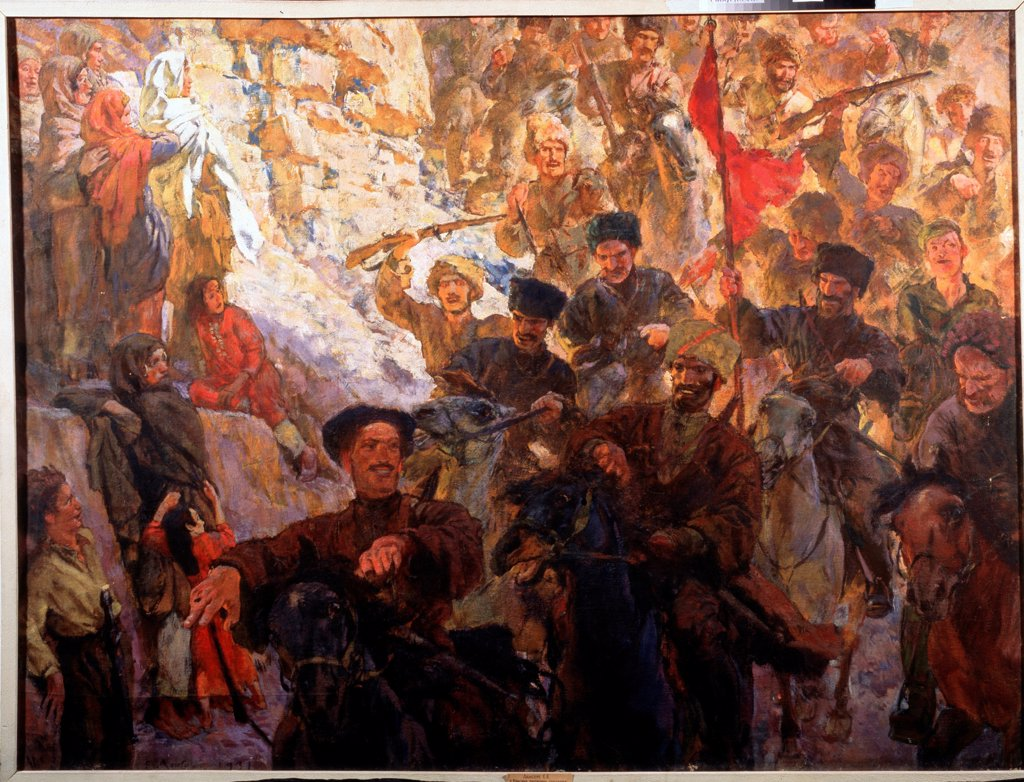 Stock Photo: 4266-23391 The red Partisans of Dagestan (Triptych, central panel) by Lanceray (Lansere), Evgeny Evgenyevich (1875-1946)/ State Art Museum of the Dagestan Republic, Makhatchkala/ 1929-1931/ Russia/ Tempera on canvas/ Soviet Art/ 139x80,5/ Genre