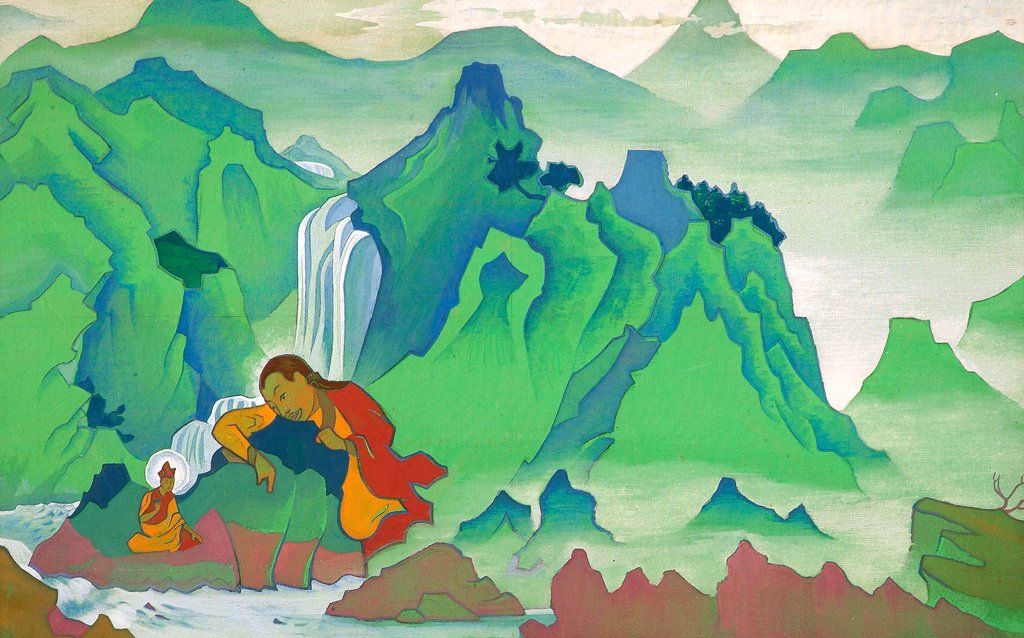 Roerich, Nicholas (1874-1947) Nicholas Roerich Museum, New York 1924 73,5x117 Tempera on canvas Symbolism Russia Mythology, Allegory and Literature  : Stock Photo