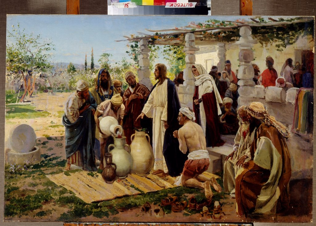 The Miracle of Turning Water into Wine at Cana by Makovsky, Vladimir Yegorovich (1846-1920)/ Regional Art Museum,Vitebsk/ Russia/ Oil on canvas/ Russian Painting of 19th cen./ 71x106/ Bible : Stock Photo