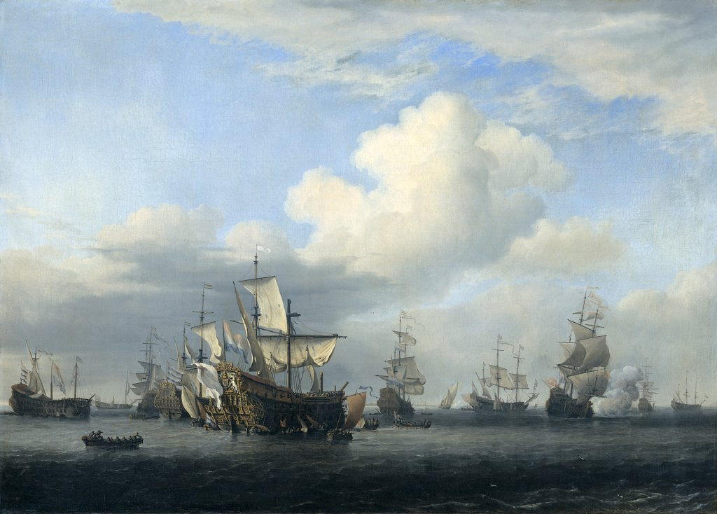 Stock Photo: 4266-2346 Second Anglo-Dutch War by Willem van de Velde the Younger, oil on canvas, 1666-1669, 1633-1707, Holland, Amsterdam, Rijksmuseum, 58x81